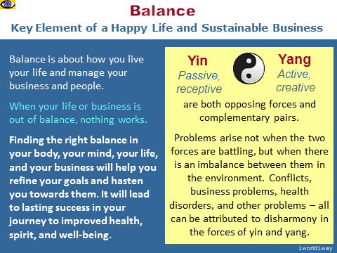 BALANCE - the key to happy life and sustainable business, Yin-Yang