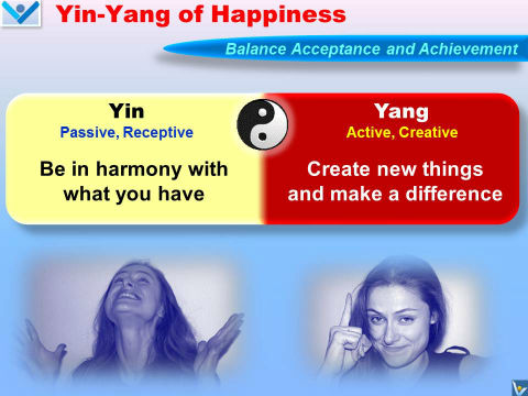 Happiness Emfographics by Vadim Kotelnikov: Yin and Yang of Happiness - Enjoy what you have and create new things
