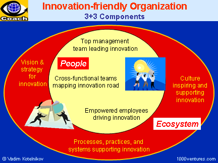 Innovation-friendly Organization: Vision for Innovation, Culture of Innovation, Innovation Leaders, Innovation Teams, Innovation Process