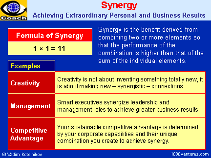 SYNERGY - Extraordinary value-added energy or force created by the working together of various parts